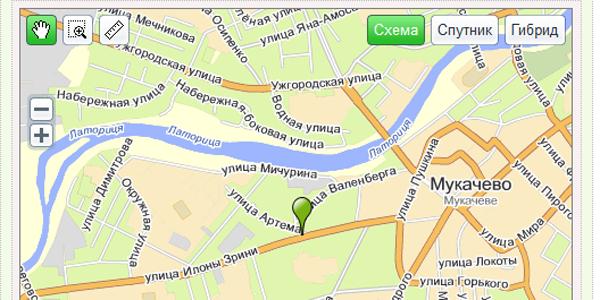 Отображение на карте Яндекс