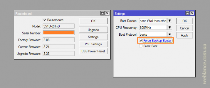 Mikrotik: обновление загрузчика RouterBOOT в устройствах RouterBOARD, список изменений, использование резервного загрузчика