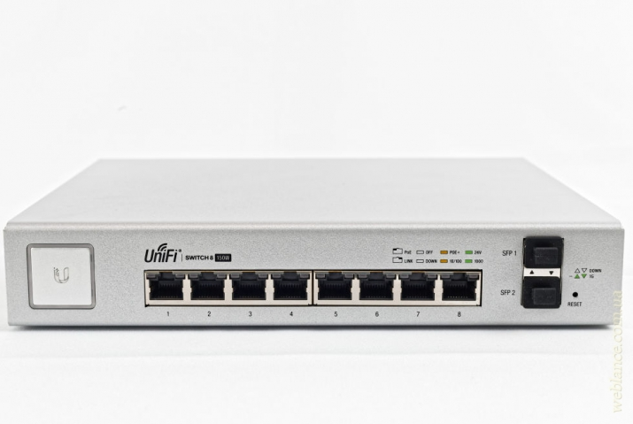����� 8-��������� ������������ PoE-����������� UniFi Switch US-8-150W (UniFi Switch 8 PoE) �� Ubiquiti: �������� ������ �������� ������� UniFi
