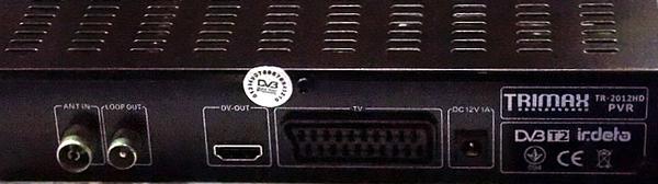 Задняя панель эфирного приемника Trimax TR-2012HD PVR