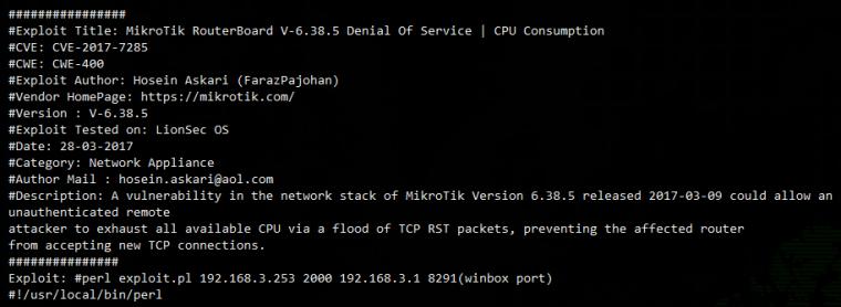 Denial Of Service: уязвимость RouterOS 6.38.5 позволяет вызвать отказ сети
